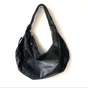 HOBO INTERNATIONAL BLACK LEATHER HOBO BAG